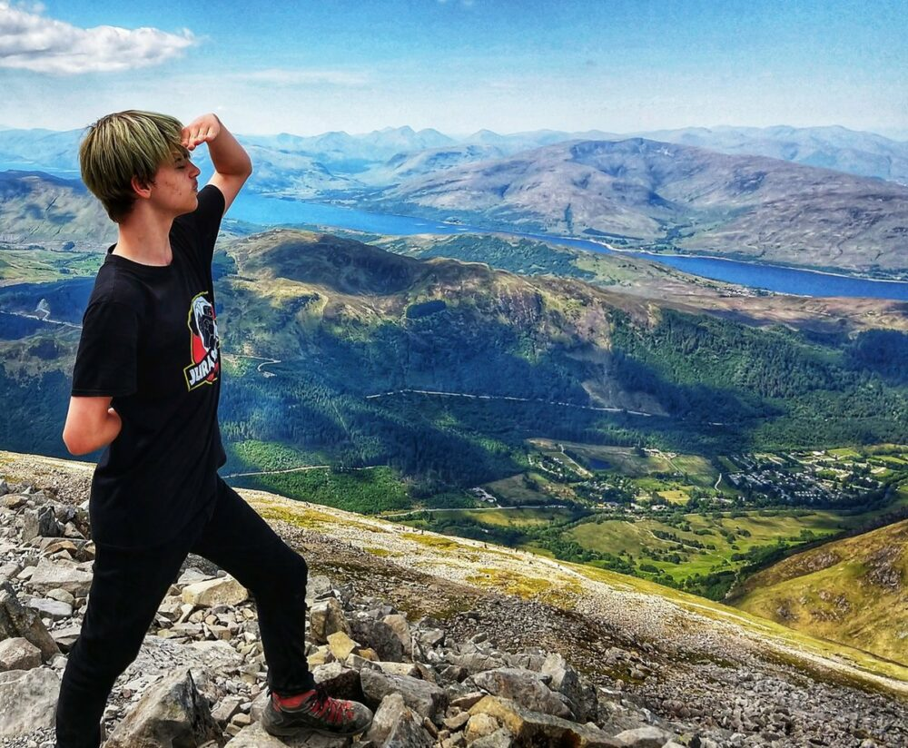 Top of Ben Nevis Scotland UK My son