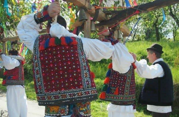 ploughing festival in Hoteni, Maramures Romania