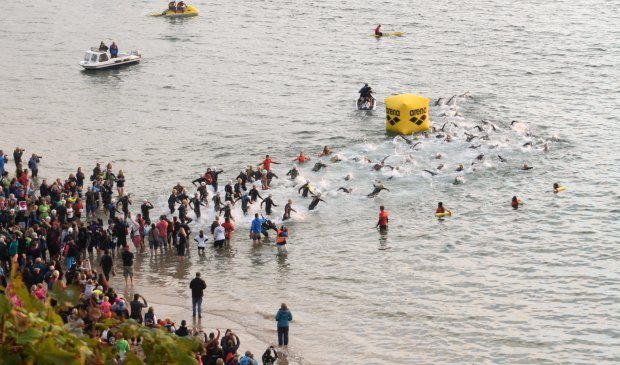 start of the swim Wales Ironman