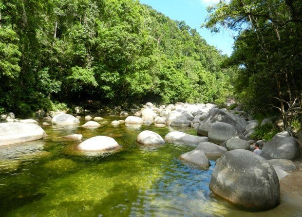 Swimming at Mossman Gorge. Fresh Water Swimming Hole