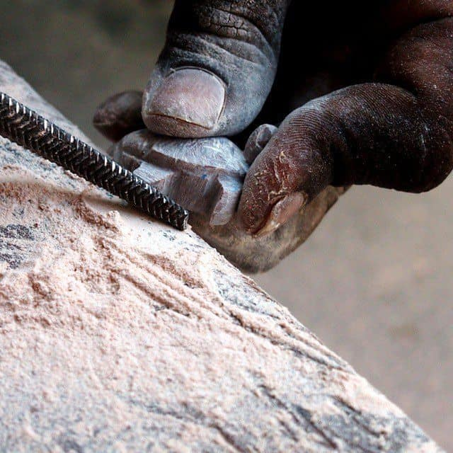 Stone carving lessons Mamalapuram Jeremy the turtle.