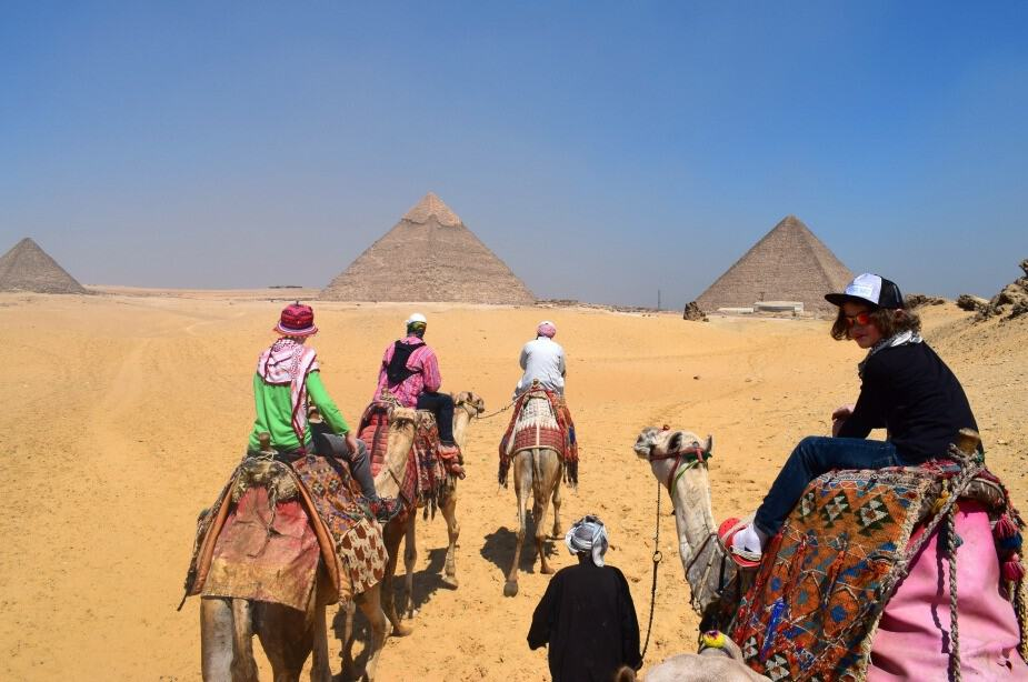 Camels at the pyramids. Riding.