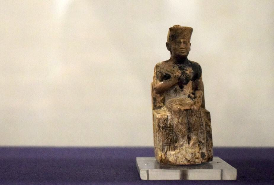 Tiny figure of Khufu or Chiops at the Egyptian Museum Cairo