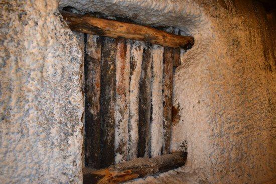 Salt encrusted walls inside the mine.