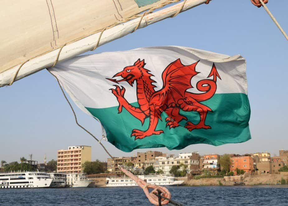 Welsh flag on a felucca Egypt