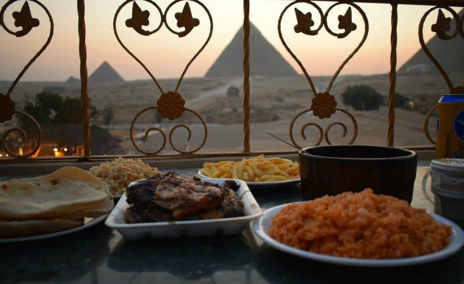 hotel and restaurant with beer near pyramids giza cairo