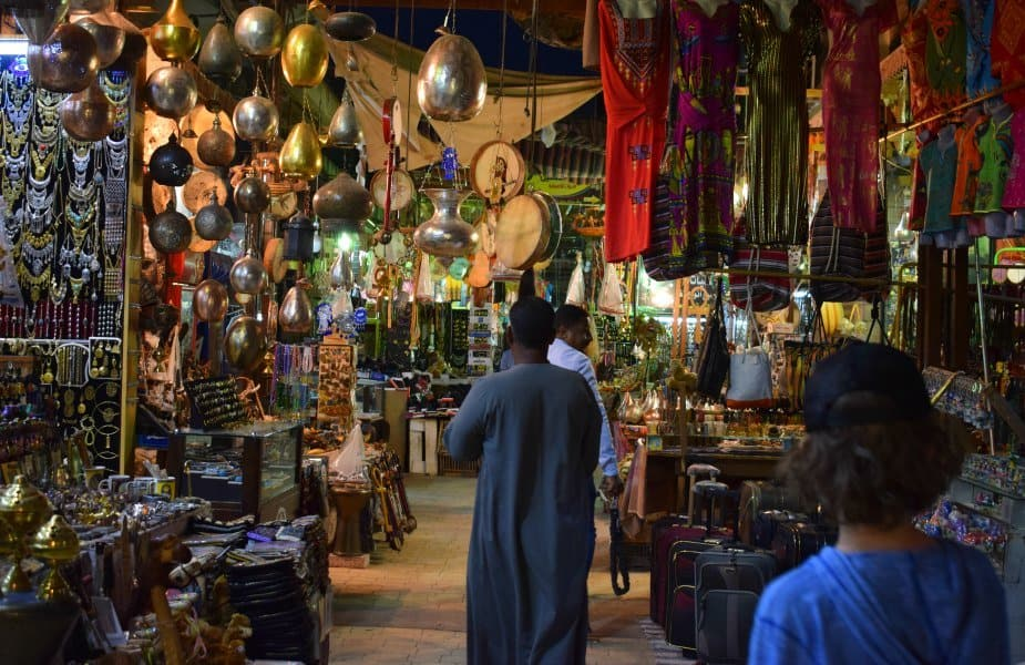 Tourist souk in Luxor Egypt