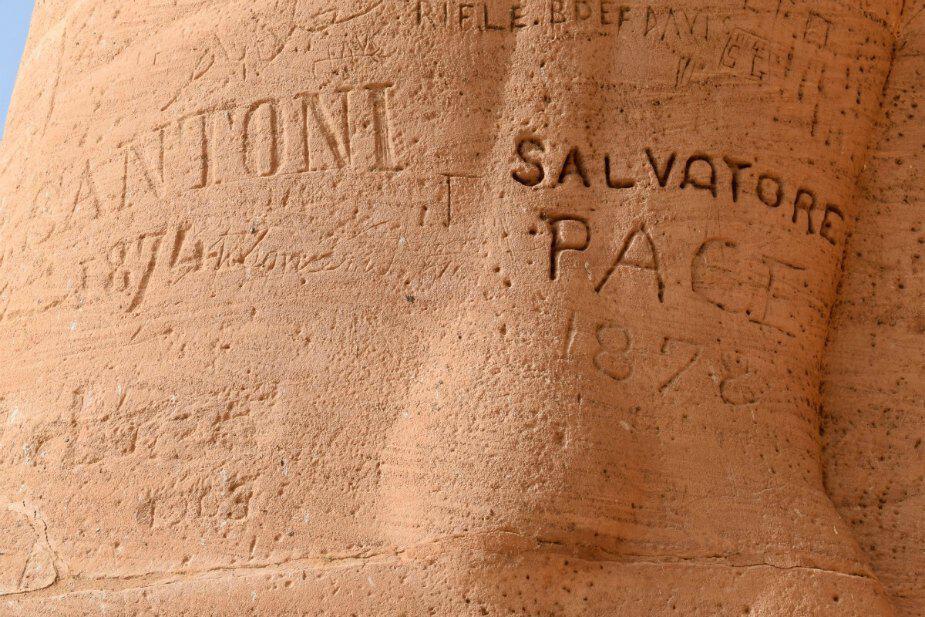 ancient graffitti at abu simbel egypt salvatore pace
