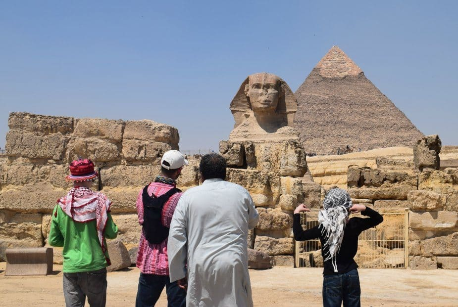the sphinx, the face of khefren egypt with guide abdulla