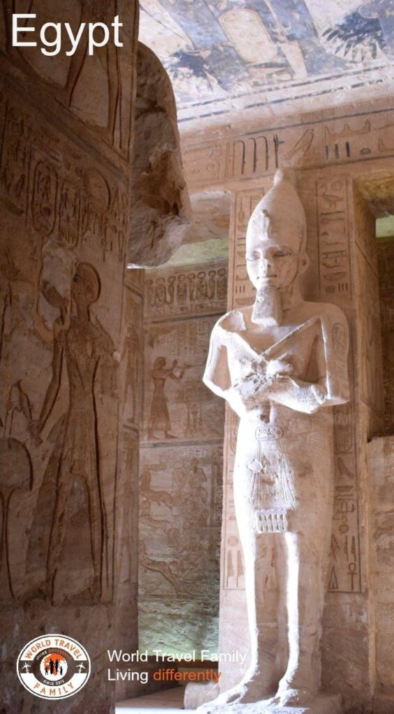 Inside Abu Simbel, statue of Ramesses the Great. Highlights of Egypt and Travel in Egypt.