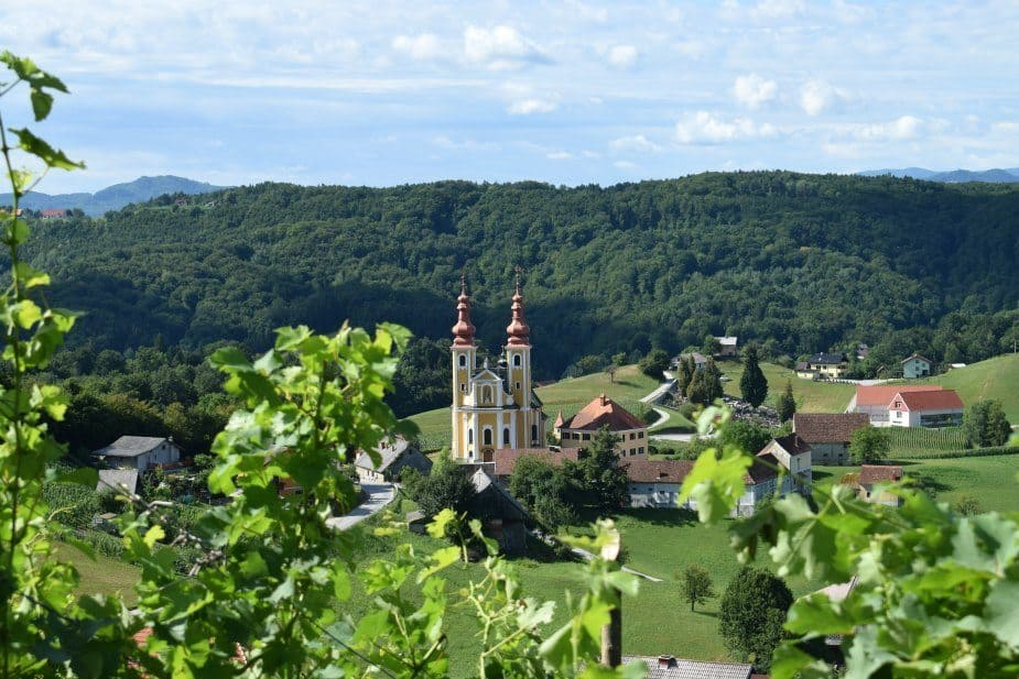 slovenia church vineyard