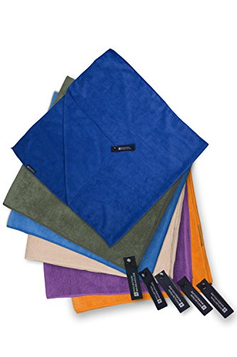 Mountain Warehouse make microfibre and microtowelling travel towels. They come in multiple sizes and have proved ulta durable through our constant use.