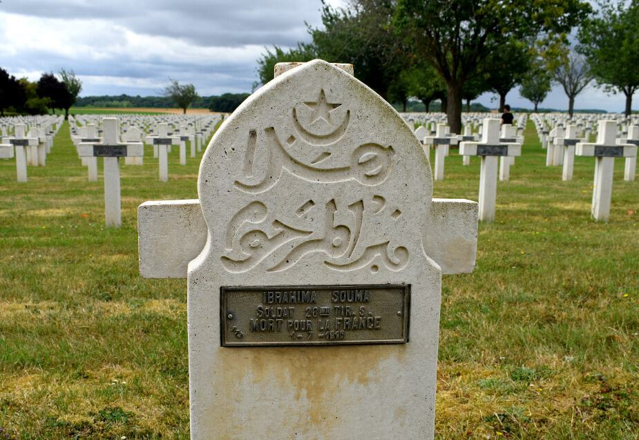 Somme Muslim grave in cemetary. Muslim soldiers fought for France