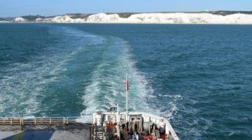 The white cliffs of dover. European Road trip and car ferry to Europe