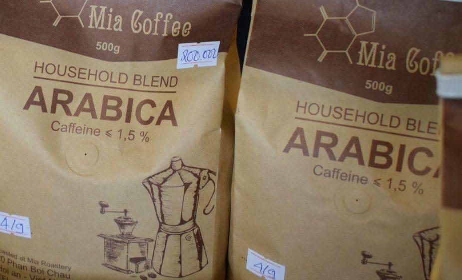 Buying coffee in Hoi An Mia Coffee Shop Arabica beans