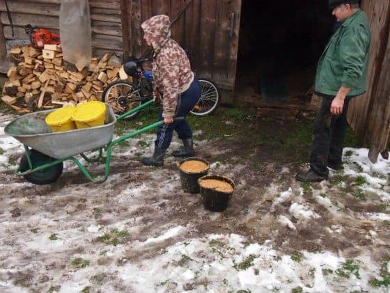 Lunch in the Tuica Shed. Making Tuica in Maramures