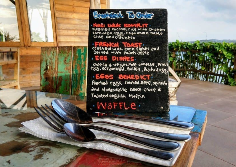 Breakfast menu at Telunas Private Island