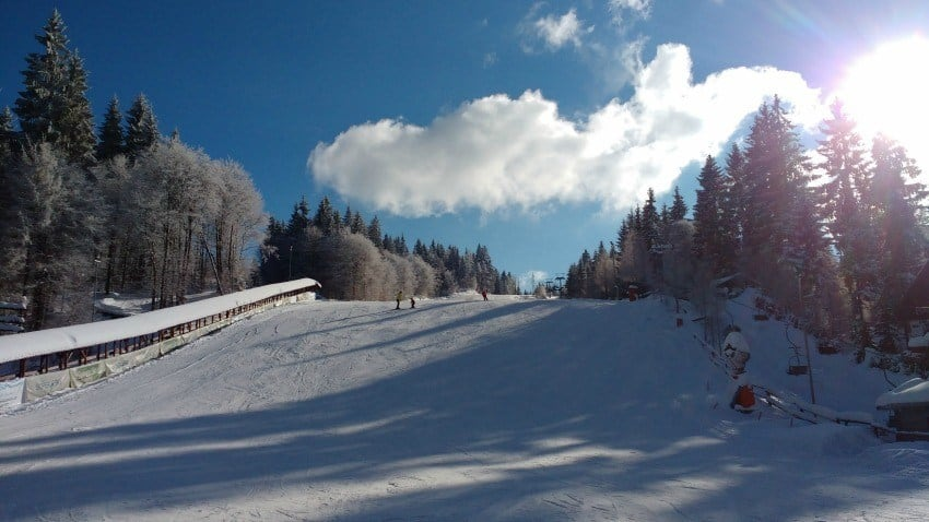 Skiing at Cavnic Romania Chair Lift and Ski School Kids Lift