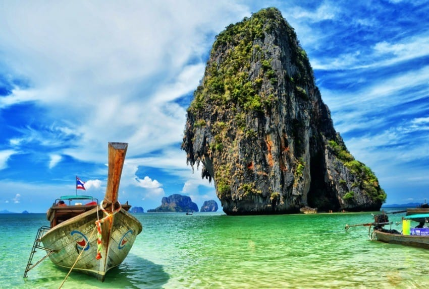 View of the Phra Nang Cave Beach in Thailand and boat anchored