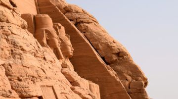Abu Simbel, first views on arrival from Aswan