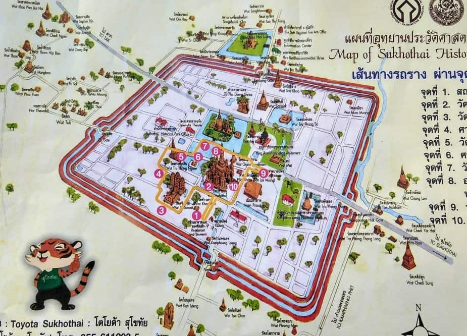 Map of Sukhothai Historic Site
