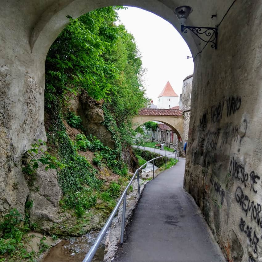 Brasov Bastion and Graft Ditch and Alley outside the City Walls