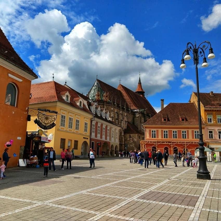 Brasov Main Square and Black Church Transylvania Romania
