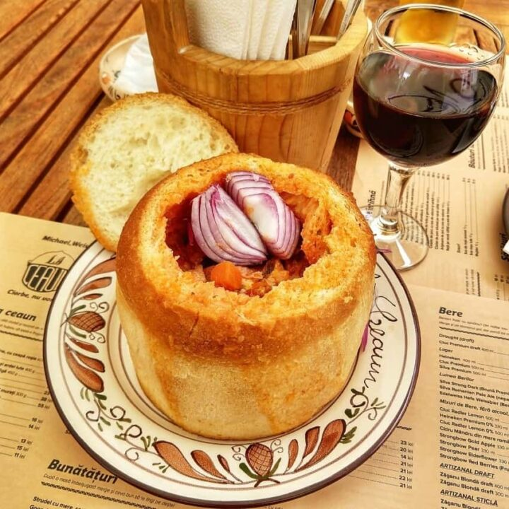 Food in Brasov Transylvania Soup in Bread Romanian Ciorba