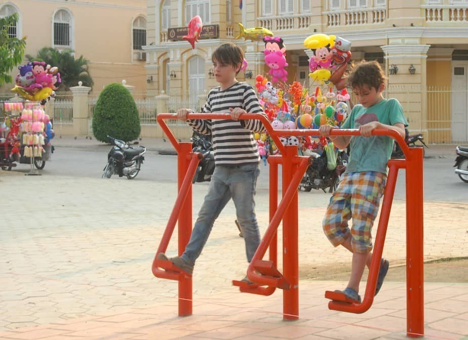 Playgrounds for kids in South East Asia. Battambang Cambodia