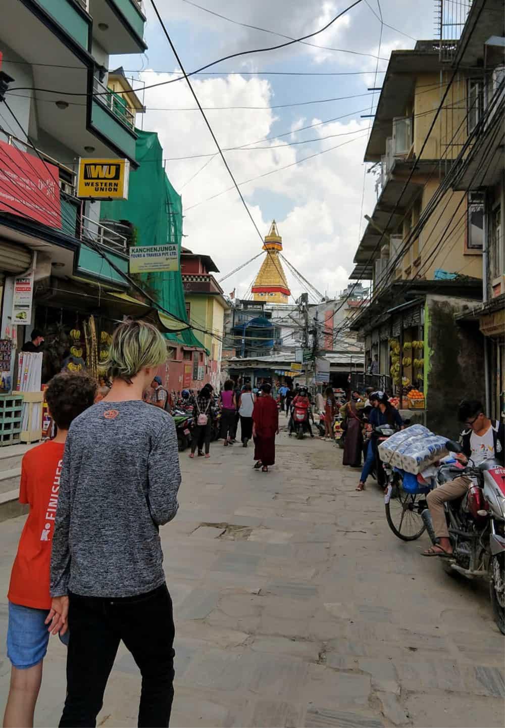 Walking in Kathmandu near Bouddhanath stup