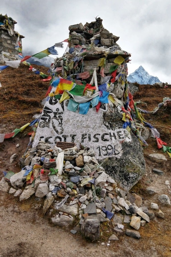 Scott Fischer Died on Everest. His Memorial on the Everest Base Camp Route, betweek Dingboche and Lobuche Nepal