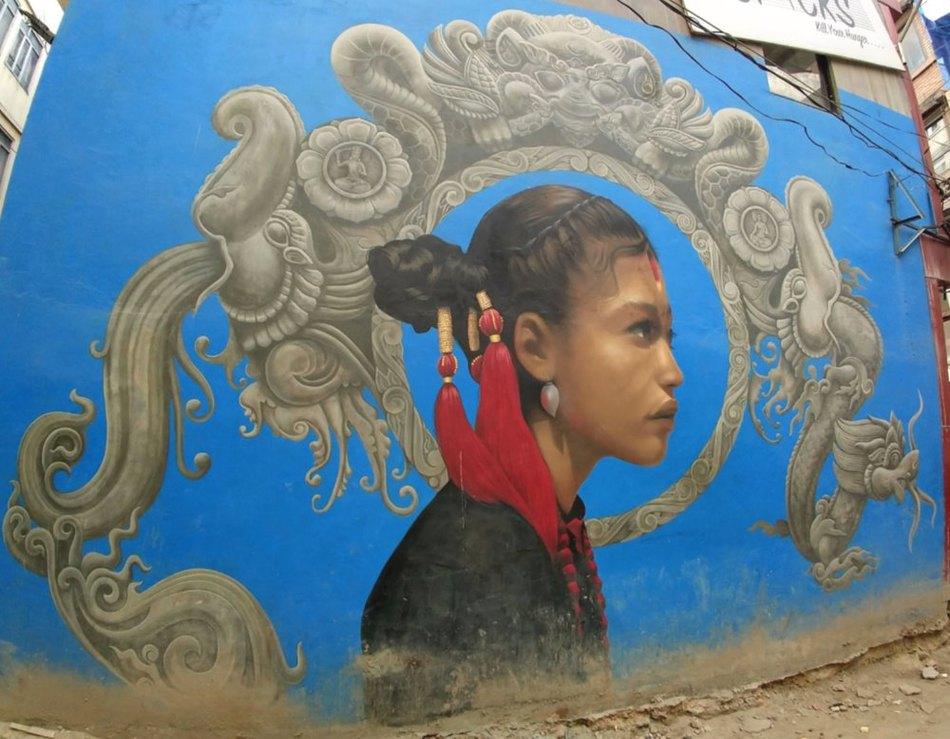 Freak Street Kathmandu street art Newari girl