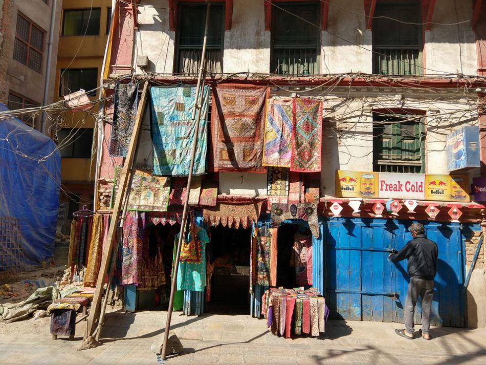 Freak Street sign and shop Kathmandu Nepal
