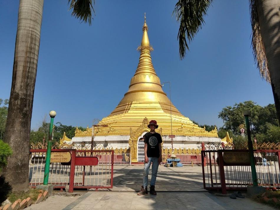The Myanmar Gold Stupa inside the Peace Park at Lumbini Nepal