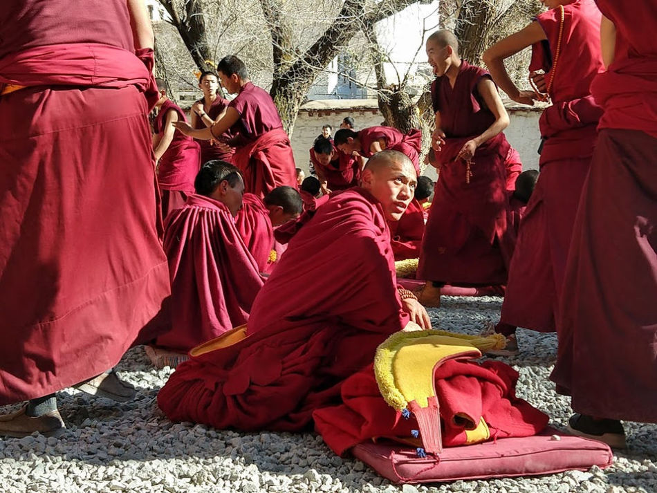 Monks Debate at the Sera Monastery Near Lhasa Tibet
