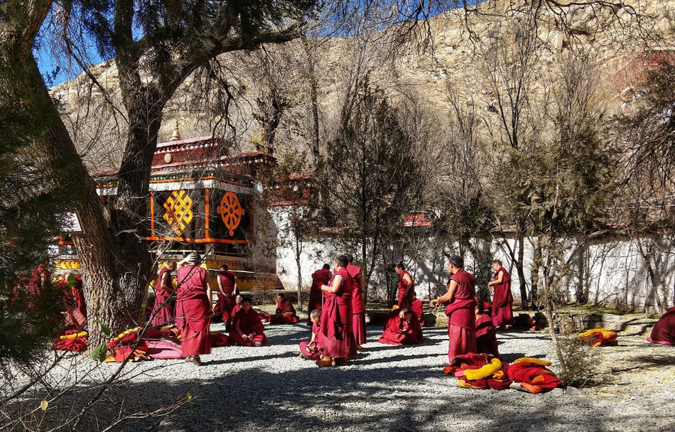 Senior monks debating at Sera Monastery Tibet