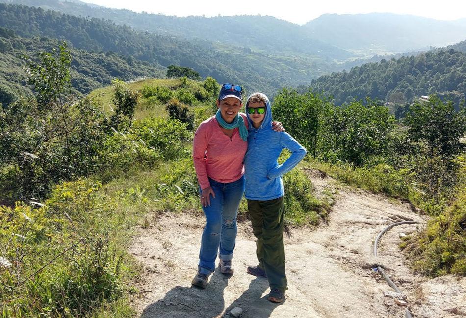 Walking trekking or hiking on a family gap year