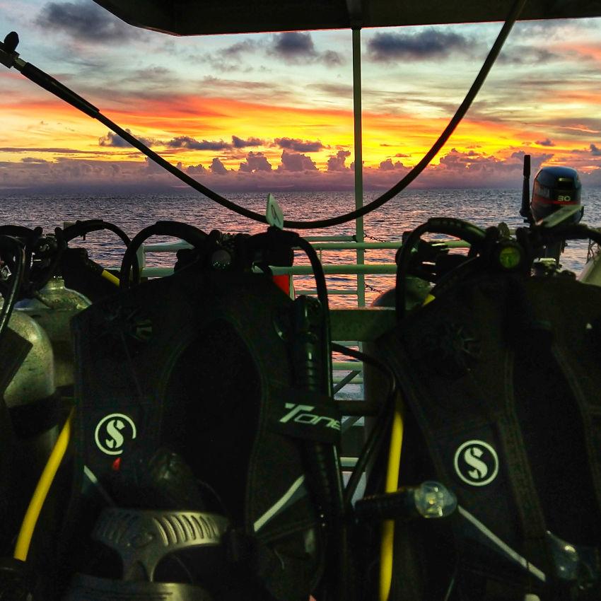 dive gear on liveaboard dive trip