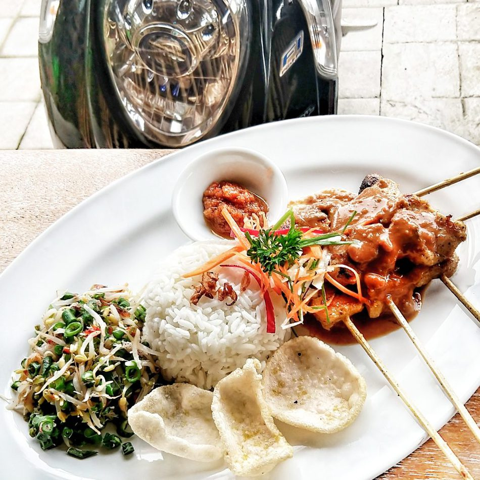 Food in Bali with Kids Tempeh Satay at a Local Warung