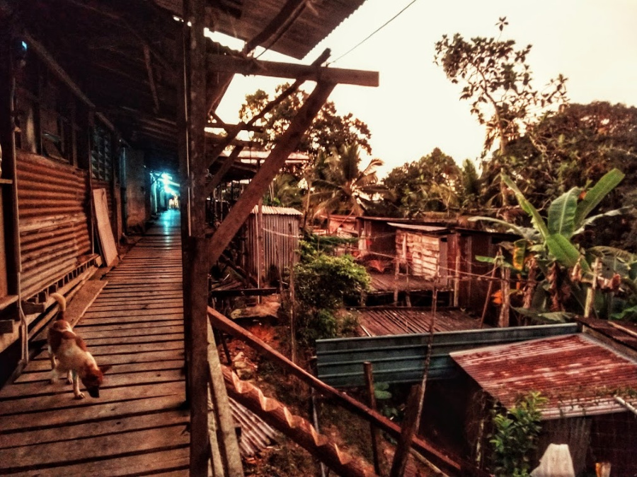 Sarawak Longhouse pics exterior raised walkway