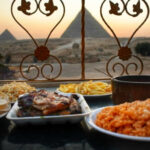 Food in Egypt Dining in Cairo Egypt pyramids view