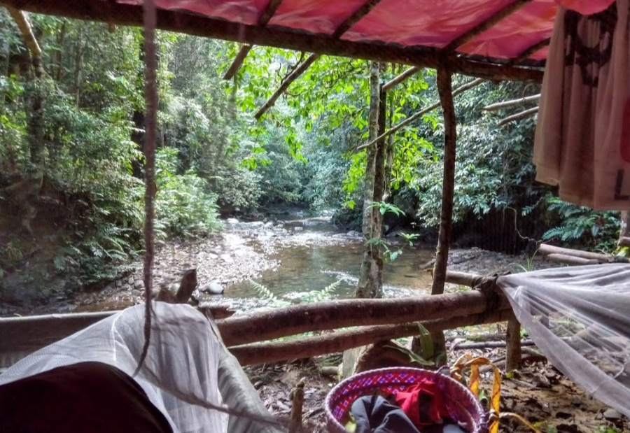 Iban hunting camp jungle trekking and camping in Sarawak Borneo