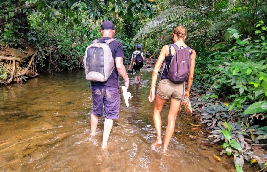 trekking in Borneo walking in Jungle streams