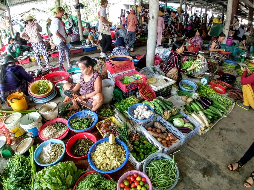 A market in Hue Vietnam. Local ingredients Bun Boh Hue