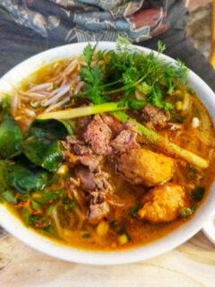 Eating Bun Bo Hue in Hue Variation on Bun Bo Restaurant Dish