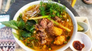 Eating Bun Bo Hue in Hue Variation on Bun Bo Restaurant Dish