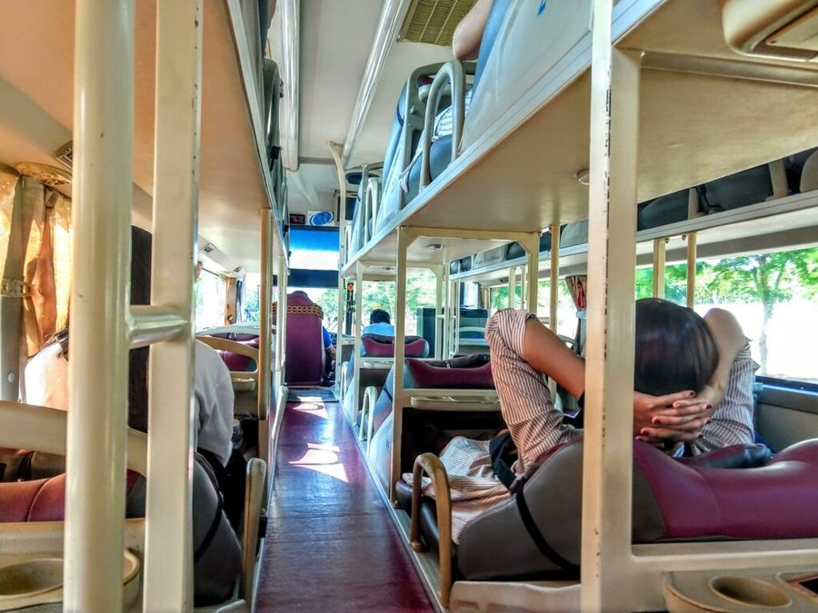 Inside Vietnam sleeper bus Ho Chi Minh to Hoi An by Bus