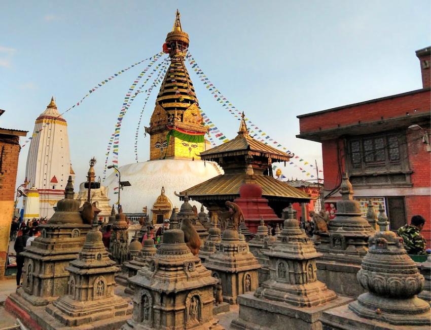 graves and cemetary at swayambhunath stupa kathmandu