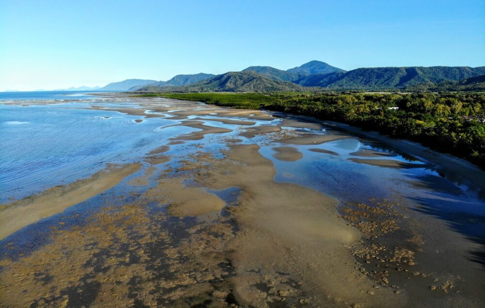 Low tide drone shot four mile beach port douglas