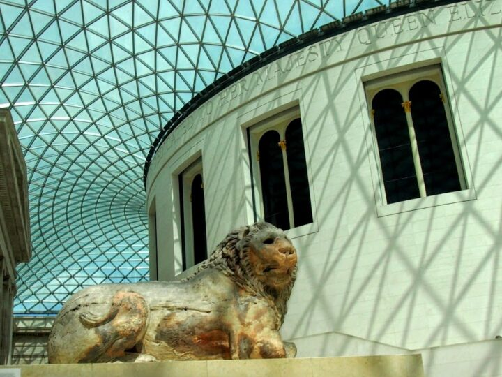 The Briritish Museum entrance hall with lion
